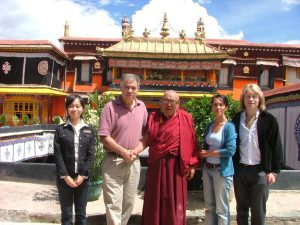 Lhasa Tibet Meeting High Llama with our travelling companions